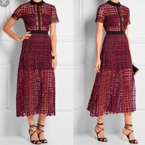 Self portrait scallop burgundy dress